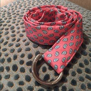 ✨J. Crew D Ring Silk Belt Pink With Blue Shells